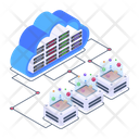 Cloud Servers Distributed Cloud Storage Cloud Databases Icon