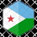 Djibouti Flag Hexagon Icon