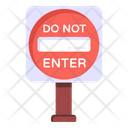 Do Not Enter Road Post Traffic Board Icon