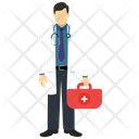 Doctor with stethoscope suitcase Icon