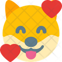 Dog Smiling With Hearts Icon