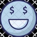 Dollar Dollar On Face Emoticons Icon