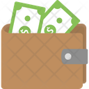 Cash Dollar Bills Leather Wallet Icon