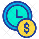 Clock Time Dollar Icon