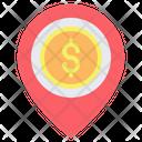 Dollar Location Money Bank Icon