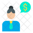 Dollar Woman Conversation Woman Businesswoman Icon
