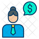 Dollar woman conversation Icon