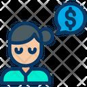 Dollar Woman Conversation Icon