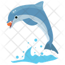 Ball Playing Dolphin Jumping Cartoon Icon