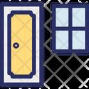 Door With Window Home Door Home Front Door And Window Icon