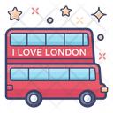 Double Decker London Bus Motorcoach Icon