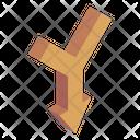 Down Merge Arrow Icon