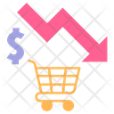 Downfall in shopping Icon