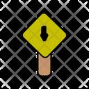 Downward Road Board Icon
