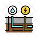 Building Drainage Electricity Icon