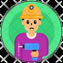 Child Labour Drill Machine Kid Labour Icon