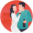 Drinking Lovers Dating Couple Enjoying Drink Icon