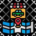 Drive Through Shopping Shop Map Icon