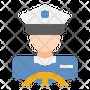 Driver Ship Captain Labour Icon