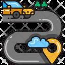 Driving Route Zig Zag Road Destination Icon