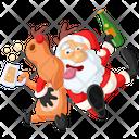 Drunk Santa With Deer Icon