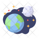 Earth Moon Galaxy Icon