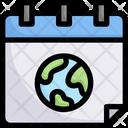 Earth On Calendar Icon
