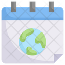 Earth On Calendar Icon