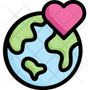 Earth On Heart Icon