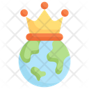 Earth With Crown Icon