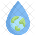 Earth With Drop Water Icon