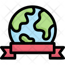 Earth With Ribbon Icon