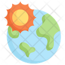 Earth With Sun Icon