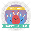 Easter Day Sticker Happy Easter Badge Easter Emblem Icon