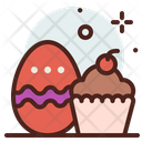 Easter Egg And Cake Cupcake Dessert Icon