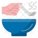 Eat Hot Food Use Serving Spoon Virus Transmission Icon