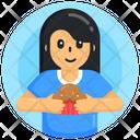 Eating Cupcake Dessert Muffin Icon