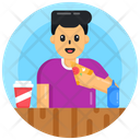 Eating Meal Eating Pizza Man Eating Pizza Icon