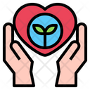 Hand Heart Leaf Icon