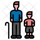 Elderly And Kid Old People Icon