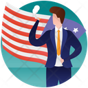 Election Day Political Flag Patterned Flag Icon