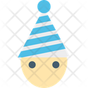 Elf Cartoon Face Party Hat Icon