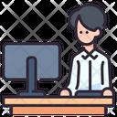 Men Working Desk Worker Icon
