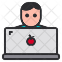Worker User Labtop Icon