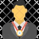 Businessman Wearing Award Icon