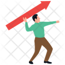 Employee Target Customer Target Man Holding Arrow Icon