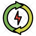 Ecology Concept Electric Bolt Energy Recycle Icon