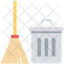 Housework Cleaner Dustbin With Brush Brush Icon