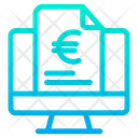 Monitor Euro Document Finance Document Icon
