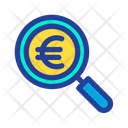 Magnifier Glass Euro Find Icon